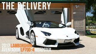 Delivery of a 2017 Lamborghini Aventador LP700-4 Roadster in Bianco Isis