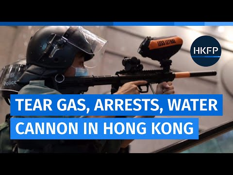 Hong Kong police crack down on protesters with mass arrests, tear gas, water cannon, pepperballs
