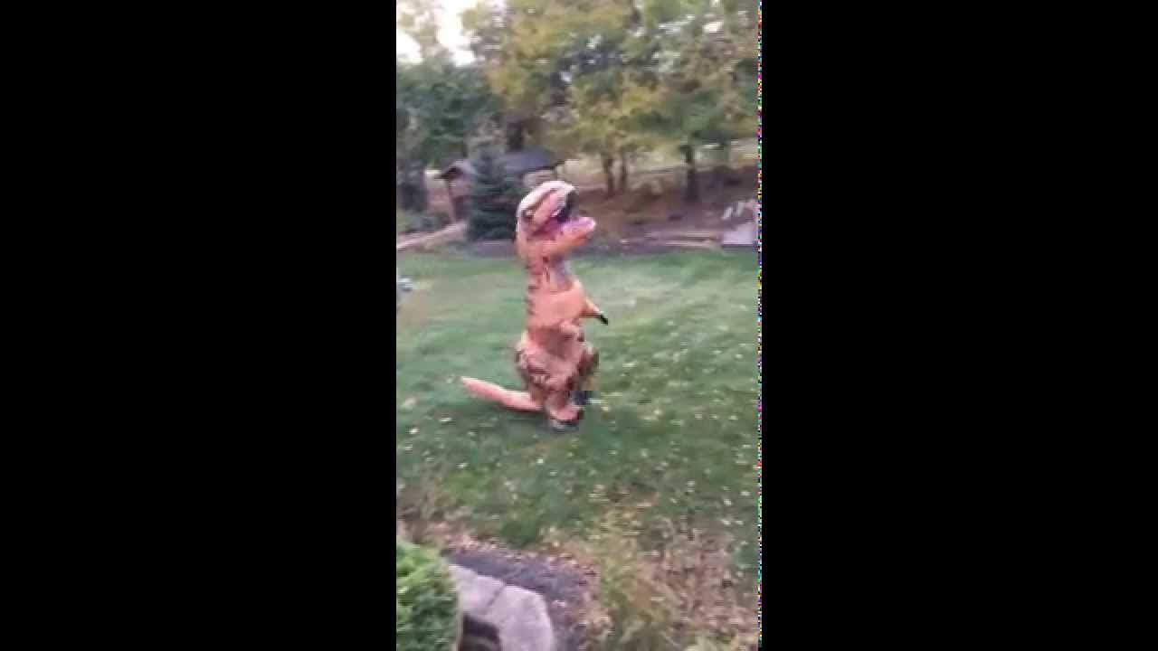 my jurrasic world inflatable t rex halloween costume youtube