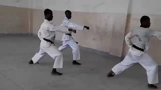 Serengeti Dojo   unsu kata by Tanzanian karatekas
