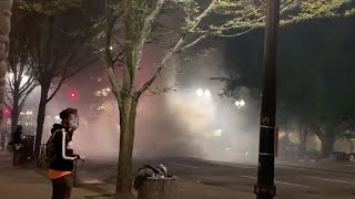 Tear gas forms 'tornado' as clashes continue in Portland