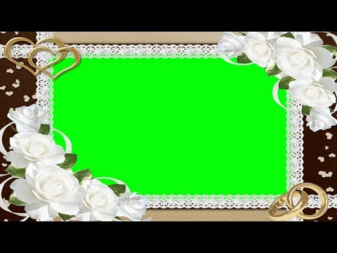 Brown  Wedding Frame with white flowers , Green Screen thumbnail