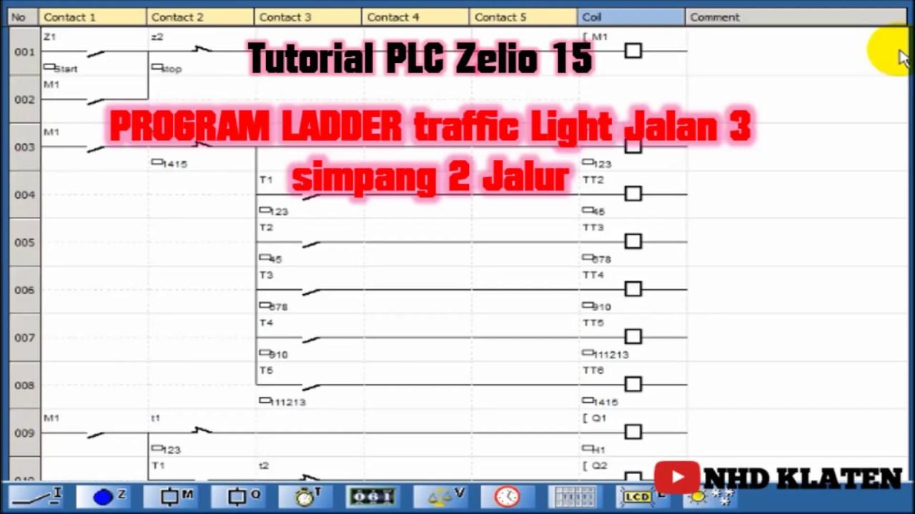 Tutorial Plc Zelio 15 Program Ladder Traffic Light Jalan 3 Simpang 2 Jalur Youtube