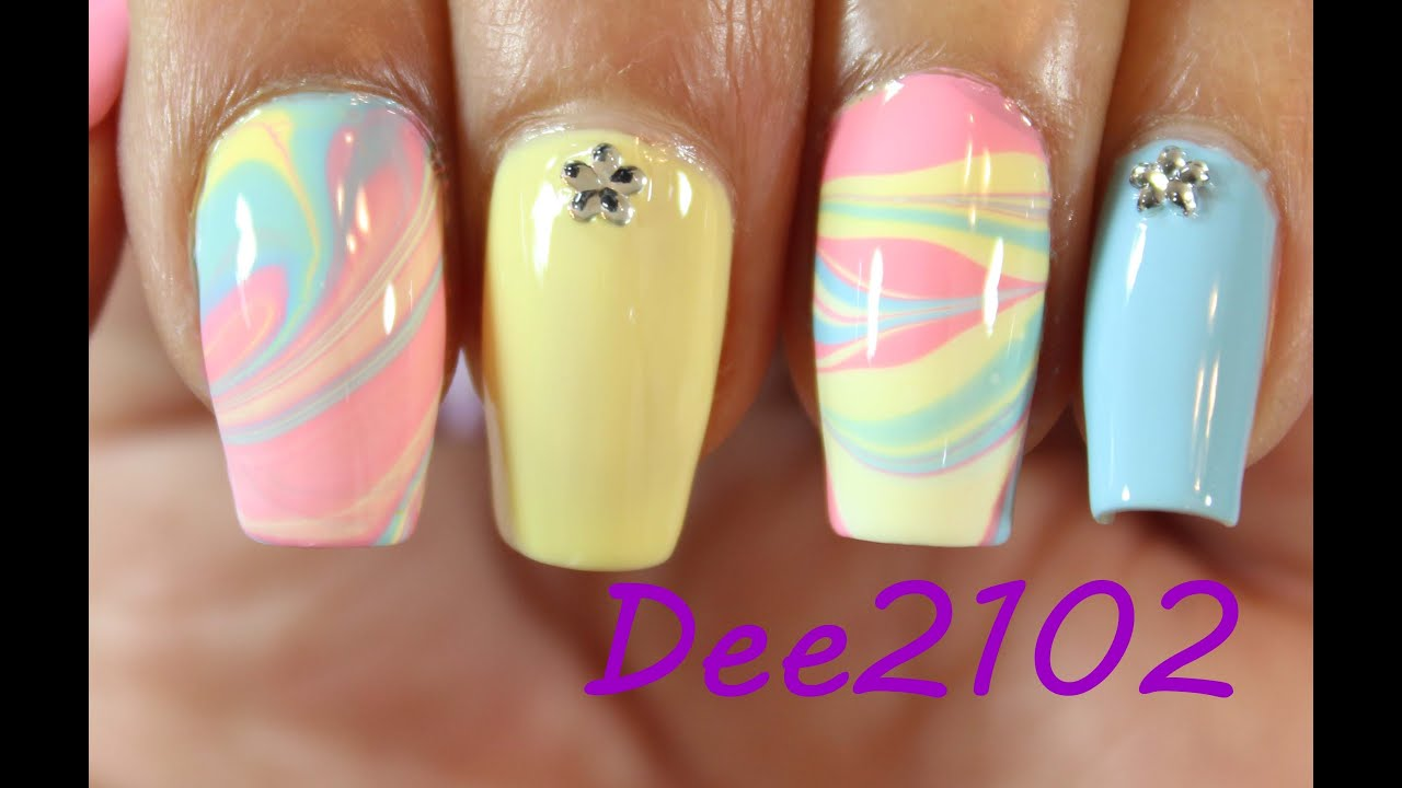 Pastel Water Marble Nails | Dee2102 - YouTube