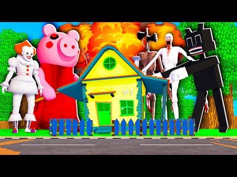 Les MONSTRES PRÉHISTORIQUES détruisent ma MAISON et la VILLE Minecraft ! 💥😨 Siren Head, Piggy etc.