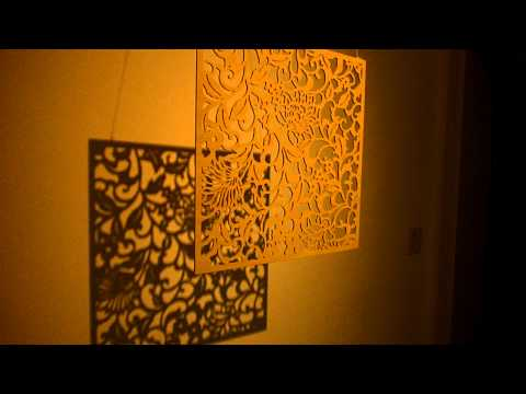 Katagami Panel ( Hand-carved wood panel  ) ineiraisan 陰翳礼讃 In Praise of Shadows