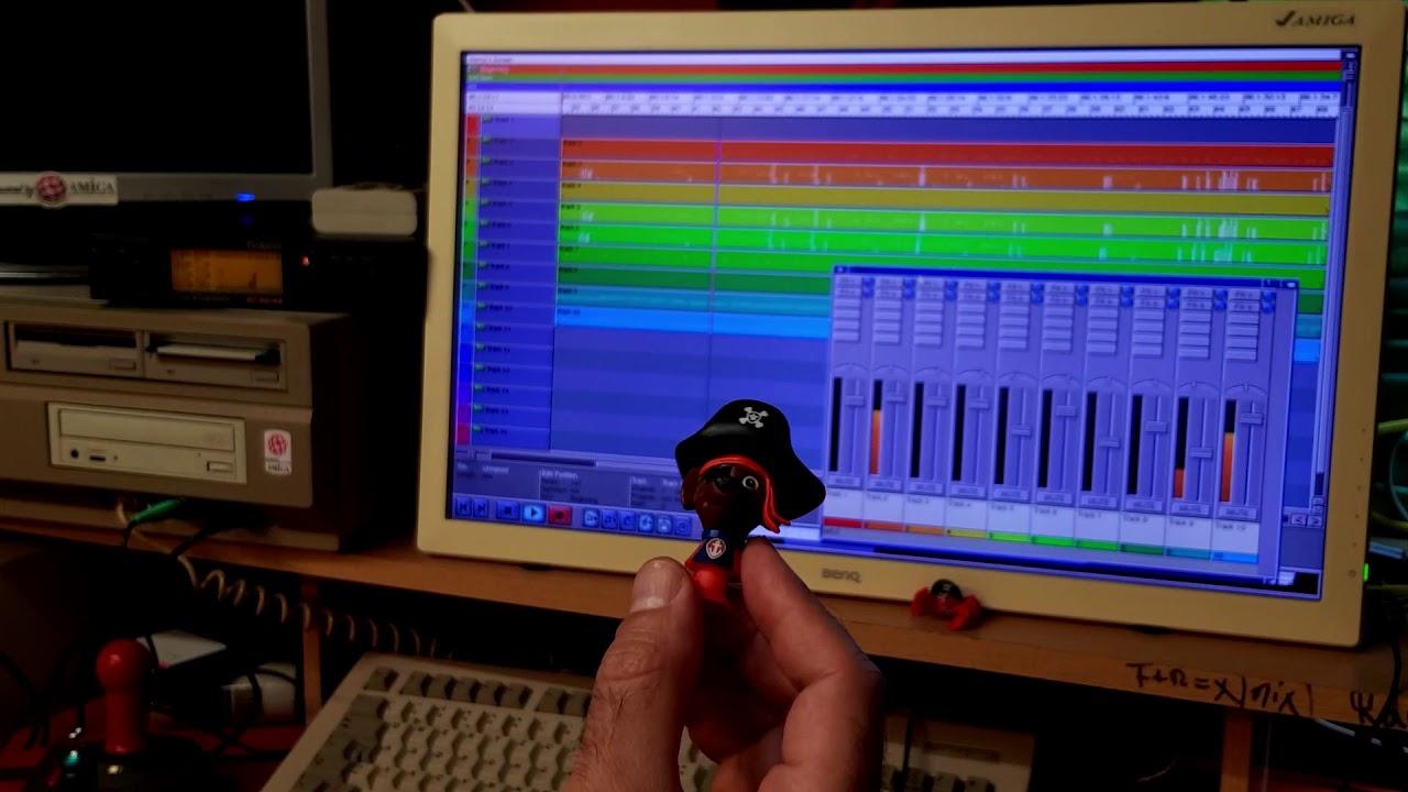 Amiga Vampire, Roland SC-55 MK2 and Horny MIDI Sequencer