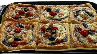 HOW TO MAKE Puff Pastry Tarts cheese tomatoes & Kalamata Olives
