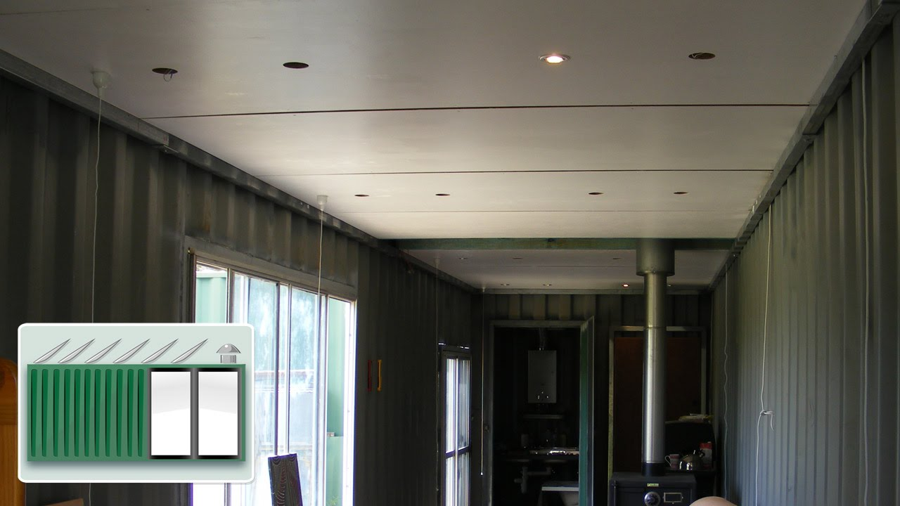 shipping container house - ceiling construction - youtube