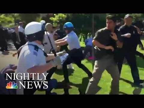 Disturbing Videos Show Turkish President's Guards Beating Protesters In DC | NBC Nightly News