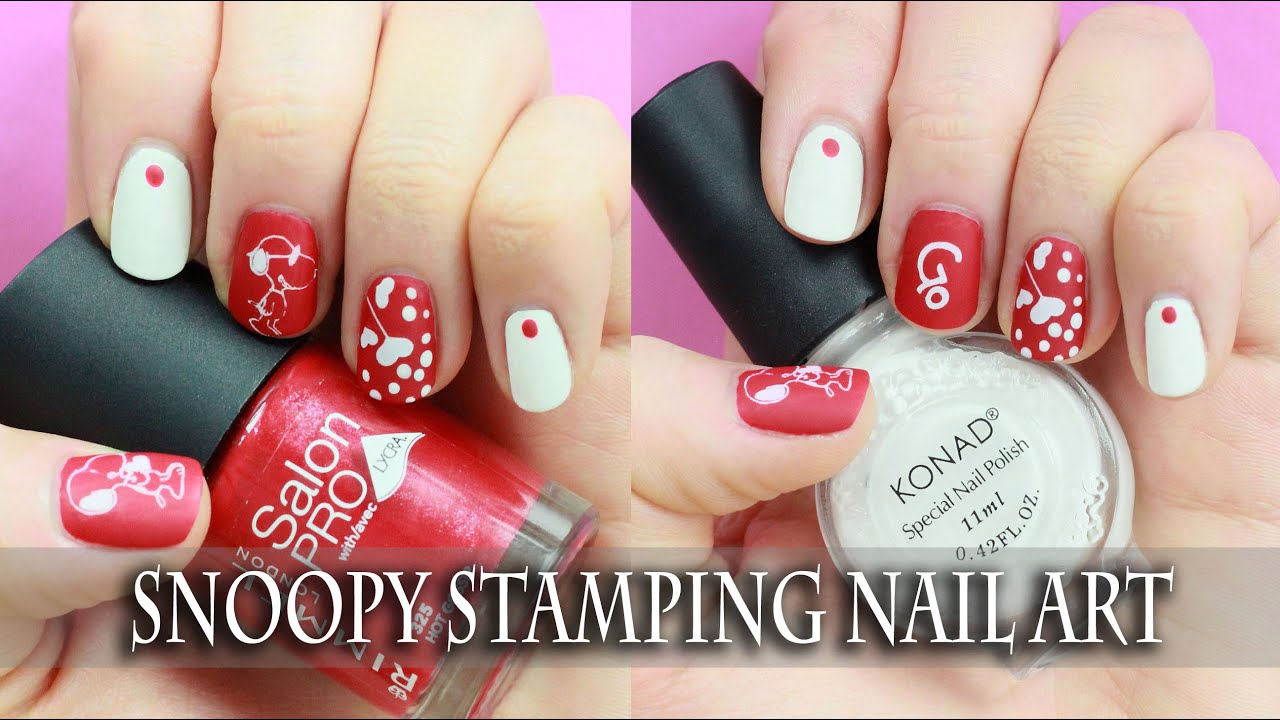 Easy Stamping Nail art for short nails! Cute Cartoon Snoopy Design ...