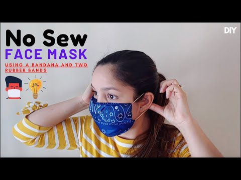 😷No Sew Face Mask Easy | Using a bandana and two rubber bands - DIY