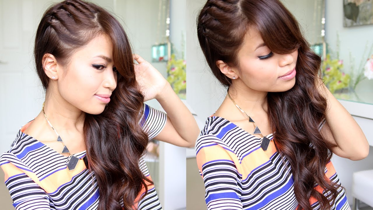 twisted side swept hairstyle feat