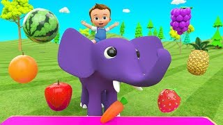Little Baby Fun Ride on Elephant Eating Fruits - Learning Fruits Names for Children Kids Educational