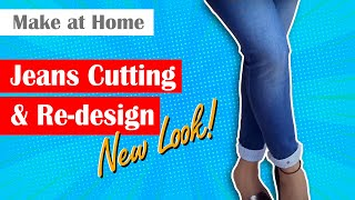 Reduce Jeans length with Original hem ज न स क लम ब ई क स कम कर New look Jeans Mohri design