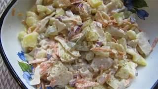 Салат с грибами и соленым огурцом.