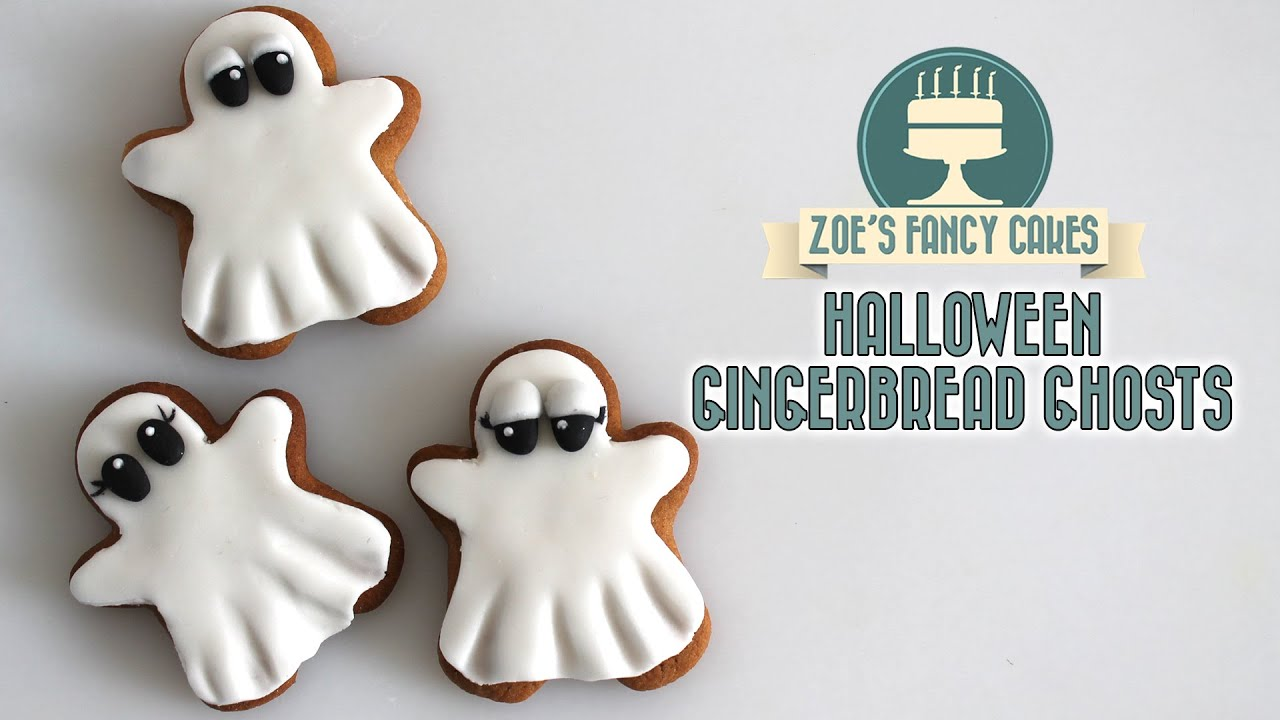 halloween gingerbread ghosts using fondant youtube - Halloween Gingerbread Cookies