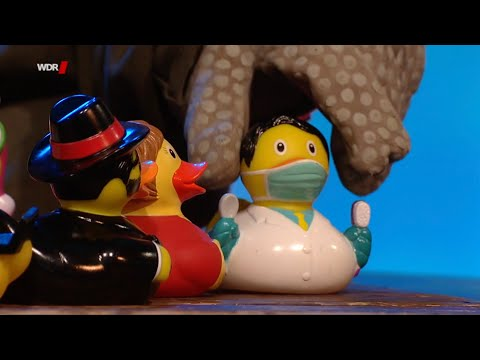 Die Echse spielt die Coronakrise mit Enten nach