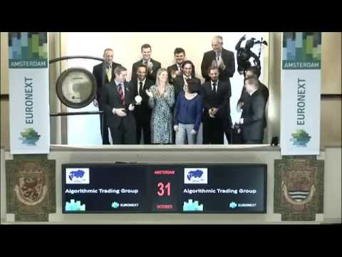 Algorithmic Trading Group at Euronext in Amsterdam hitting the market opening gong