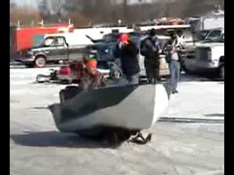 Big Johnson Boat Snowmobile Youtube
