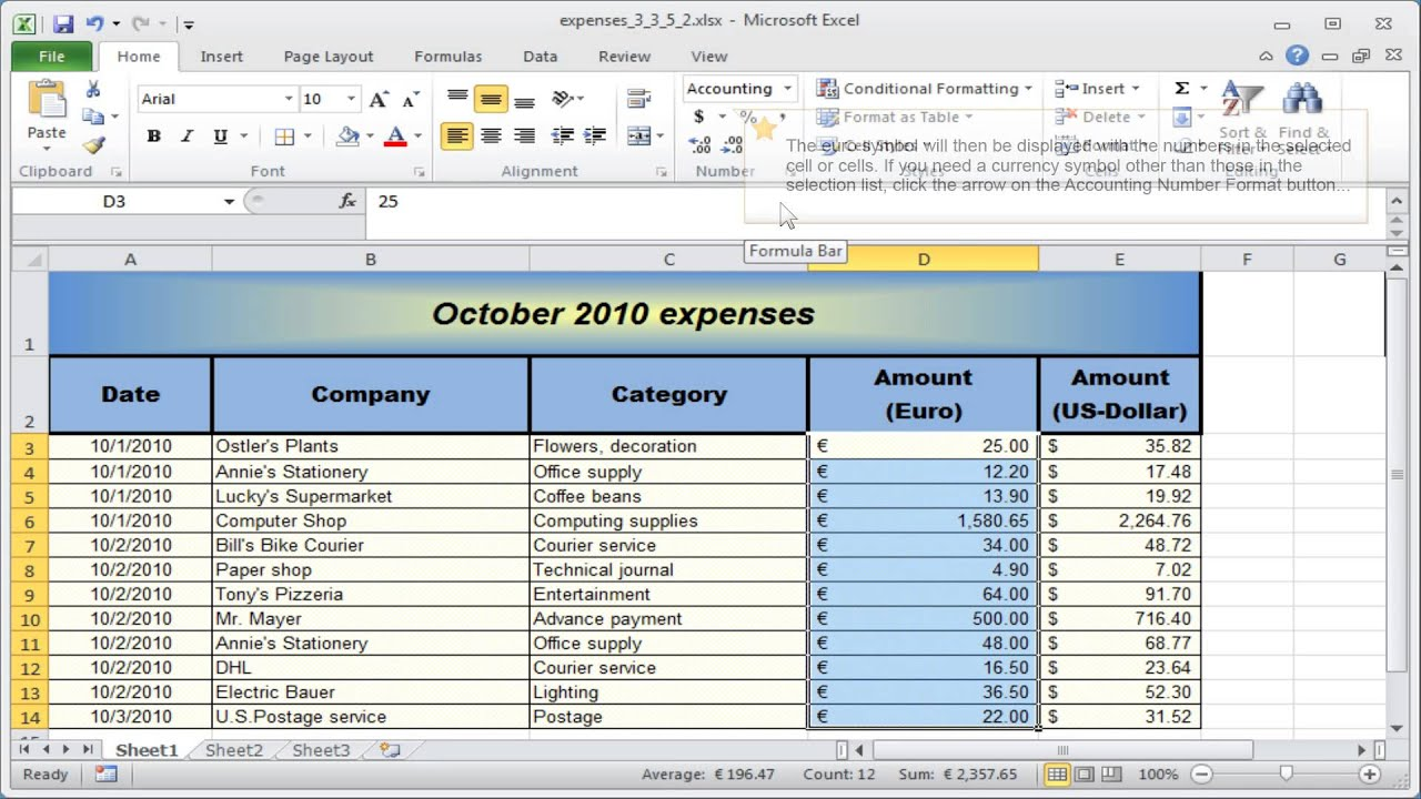 Excel number format: Formatting numbers - Currency & Accounting ...