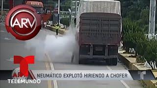 Un neumático explotó en las manos del chofer mientras removía un objeto | Al Rojo Vivo | Telemundo