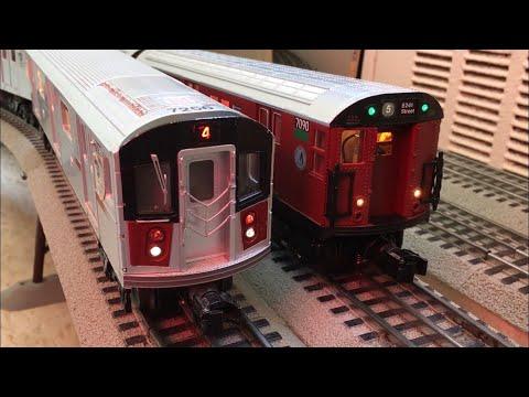 MTH Subway: MTA 5-car R142A (4) Express Train and 6-Car Redbird R21 (5) Express Train Subway Action