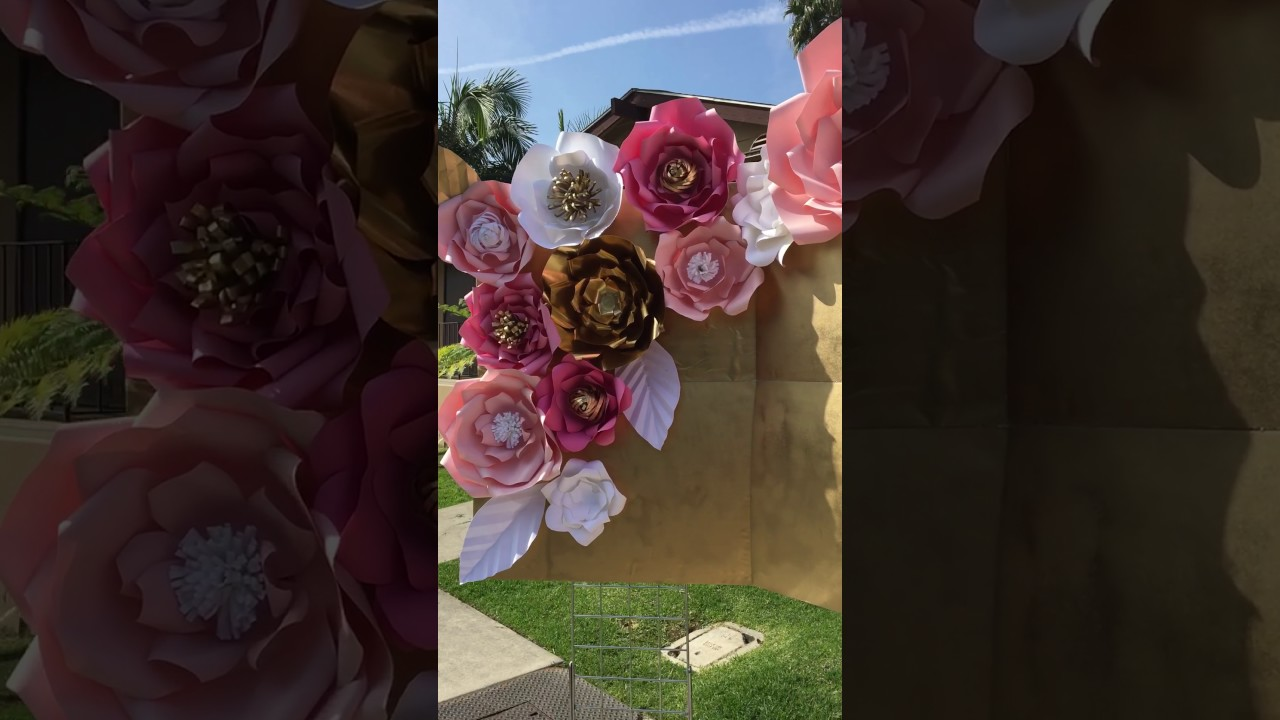 Pink Gold And White Babyshower Candy Table Paper Flowers
