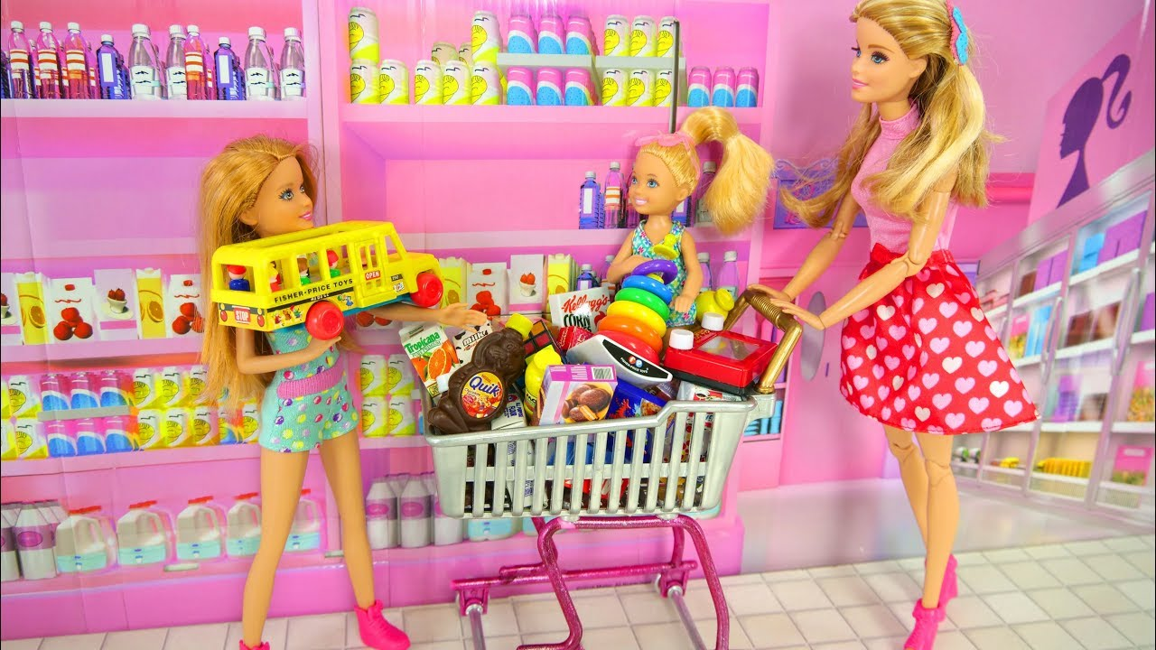 Barbie Dolls Go Shopping Toy Store For Kids Toko Mainan Boneka Barbie Loja  De Brinquedos