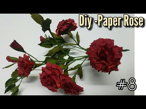 DIY -Paper Red Rose bush/crepe paper flowers /interior decoration craft #8