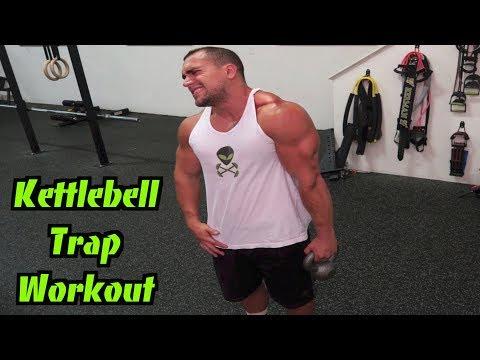 Intense 5 Minute Kettlebell Trap Workout