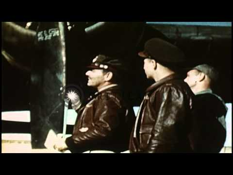 Captain Gable and two airmen inspect a B-17 Flying Fortress during the filming of...HD Stock Footage