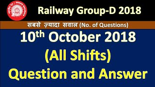 RRB Group-D All Shift (10th/oct/2018) Answer Key