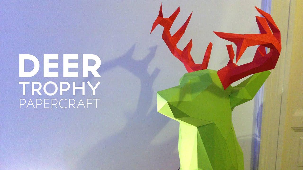 Papercraft Deer Trophy Papercraft Timelapse