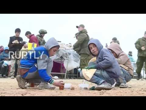 Syria: Russian aid distributed at Jibreen refugee camp as ceasefire begins