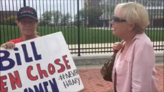 Trump and Hillary supporters confront each other