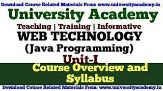 L1: Introduction to Web Technology, Course overview, Syllabus, JAVA in Hindi by University Academy