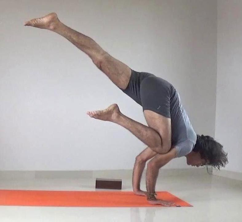 Eka Pada Bakasana Flying Crow Or Crane Yoga Pose Arm