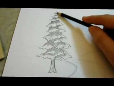 Tree pencil drawing landscape tutorial