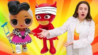 Веселая Школа: ИГРА больница для детей! Герои вМасках, ЛОЛ идругие игрушки надетской площадке