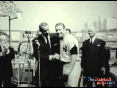 MICKEY MANTLE & JOE DIMAGGIO AT YANKEE STADIUM - 1965
