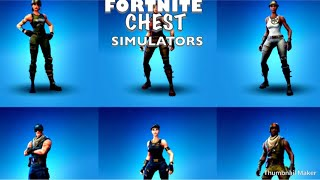 ALL OF MY SKINS IN FORTNITE CHEST SIMULATOR