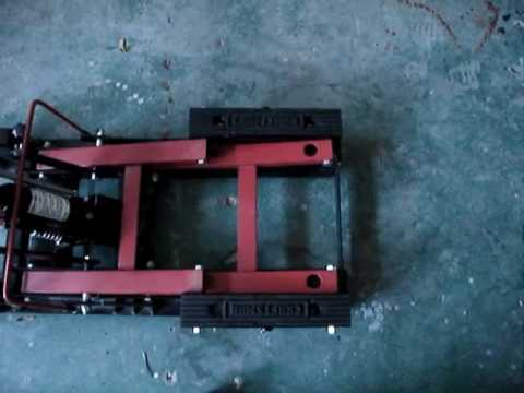 Sears Craftsman Red Motorcycle Lift Modification for H-D Dyna models