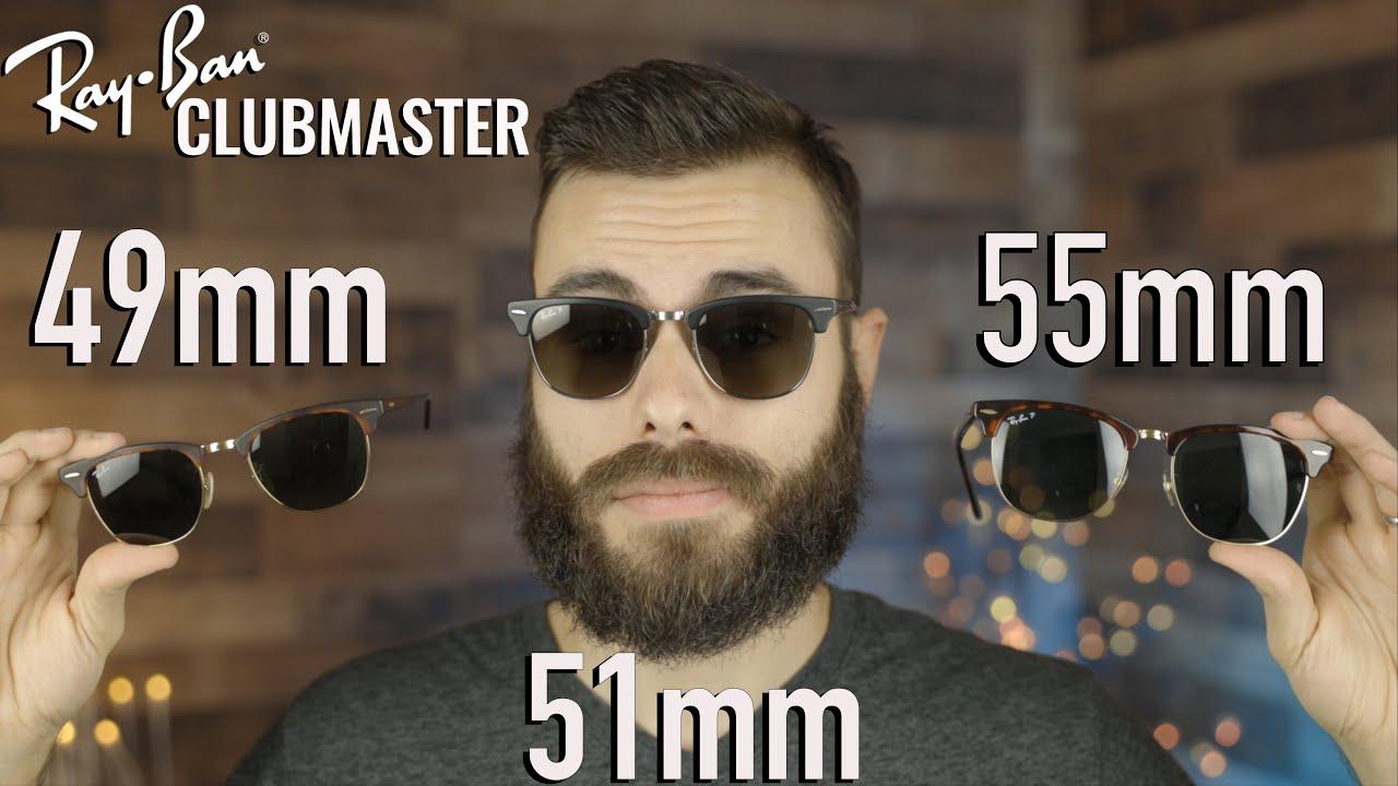 Ray-Ban Clubmaster Size Comparison 49mm vs 51mm vs 55mm