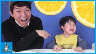 눈물나게 신 레몬 사탕먹고 미니 울다? ♡ 도티 님과 슈퍼 레몬 챌린지 레몬 범인찾기 Super Sour Candy Challenge | 말이야와친구들 MariAndFriends