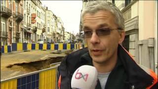 Effondrement de chaussée rue Stevin à Bruxelles