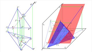 Пересечение пирамиды прямой