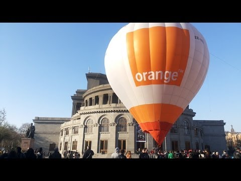 Orange Hot Balloon At Freedom Square, Yerevan