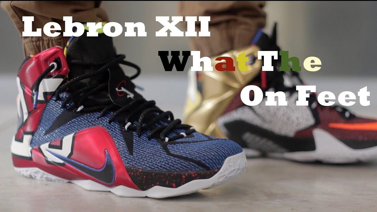 10ec2a0de7c Nike Lebron 12  What The Lebron 12  On Feet - YouTube