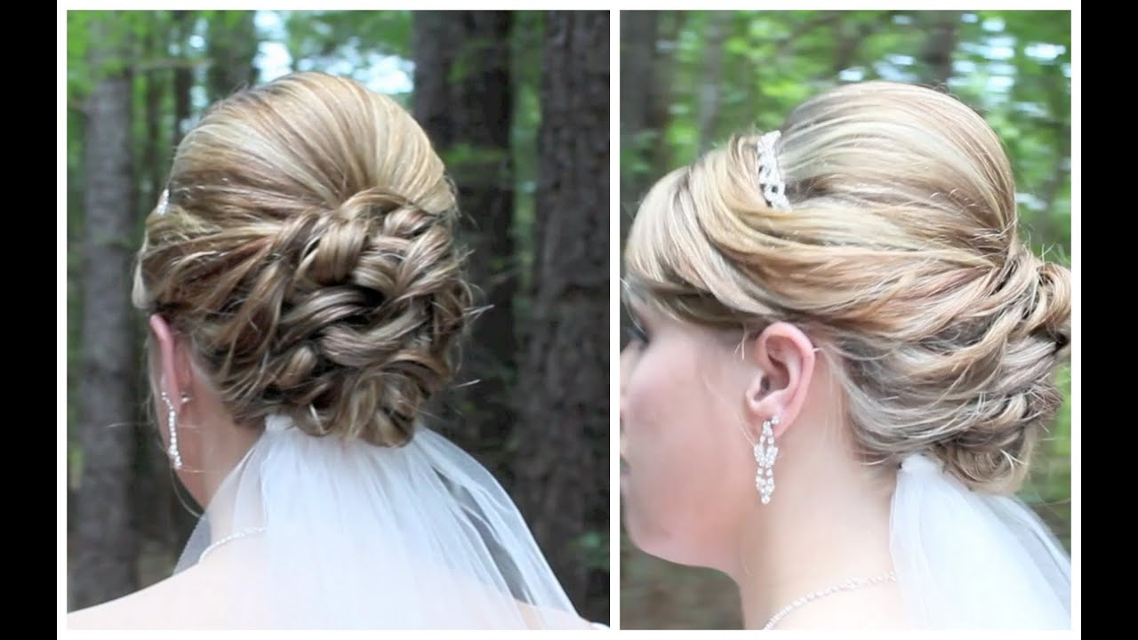 bridal updo on shoulder length hair - youtube
